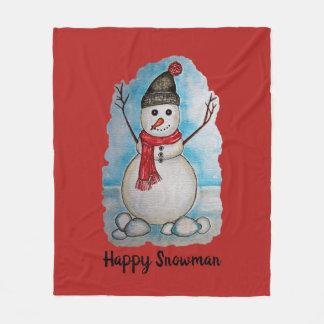Schitterende waterverfsneeuwman met sjaal en pet fleece deken