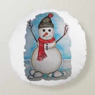 Schitterende waterverfsneeuwman met sjaal en pet rond kussen