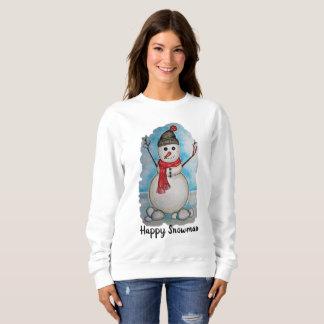 Schitterende waterverfsneeuwman met sjaal en pet trui