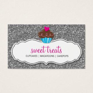 Schittert het leuke cupcake roze zilver van het visitekaartjes