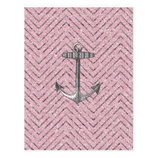 Schittert het Roze Zilver van Girly het Anker van Briefkaart