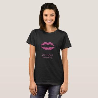 Schittert het zwarte hete roze van Glam de grote T Shirt