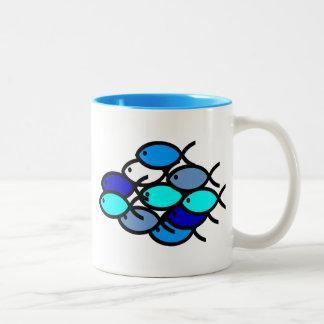 School van de Christelijke Symbolen van Vissen - Tweekleurige Koffiemok