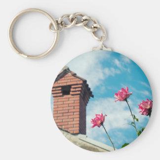 Schoorsteen en wilde rozen basic ronde button sleutelhanger