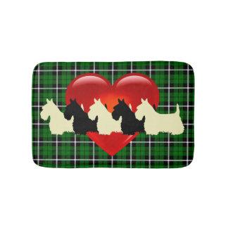 Schots Terrier/rode hart/van het Eiland groene Badmat