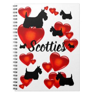 Schots zwart/wheaten het silhouethart van Terrier Ringband Notitieboek