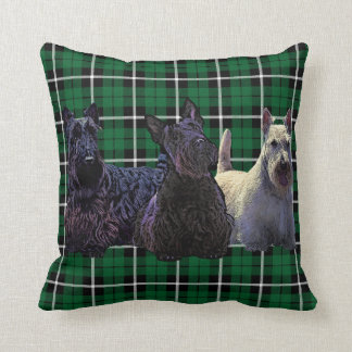 Schots zwart/wheaten Terrier, hoeden groene plaid Sierkussen