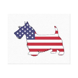 """Schotse terriër - """"Amerikaanse vlag """" Canvas Print"""