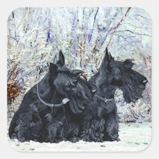 Schotse Terriers in Wintertijd Vierkante Sticker