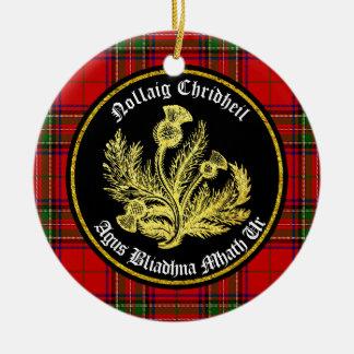 Schotse Vrolijke Kerstmis en Gelukkig Nieuwjaar Rond Keramisch Ornament
