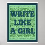 Schrijf als een Druk van de Pauw van het Meisje Plaat