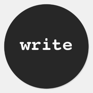 schrijf ronde sticker