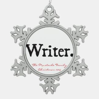 Schrijver Tin Sneeuwvlok Ornament