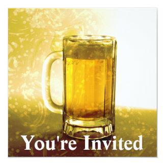 Schuimende Mok Bier 13,3x13,3 Vierkante Uitnodiging Kaart