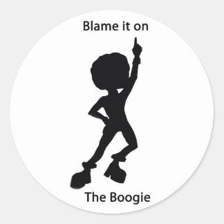 Schuld het op boogie ronde sticker