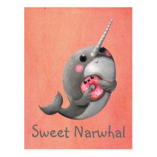 Schuwe Narwal met Doughnut Briefkaart