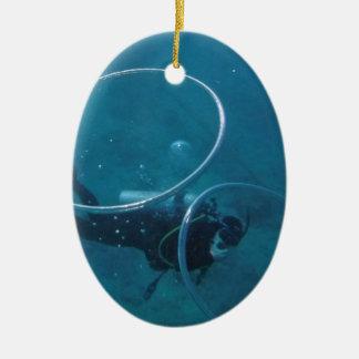 Scuba-duiker Keramisch Ovaal Ornament