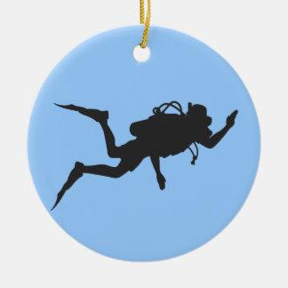 Scuba-duiker Rond Keramisch Ornament
