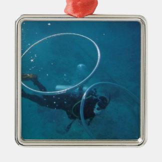 Scuba-duiker Zilverkleurig Vierkant Ornament