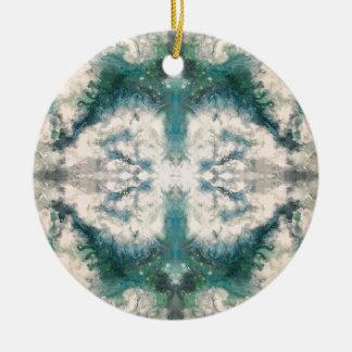 Seafoam 2 patroon rond keramisch ornament