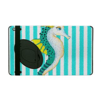 seahorse blauwgroen strepen iPad hoesje