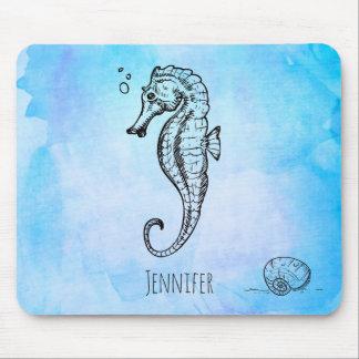 Seahorse en Zeeschelp op de Blauwe Douane van de Muismat