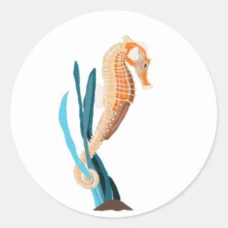 Seahorse op Zeewier wordt gebonden dat Ronde Sticker