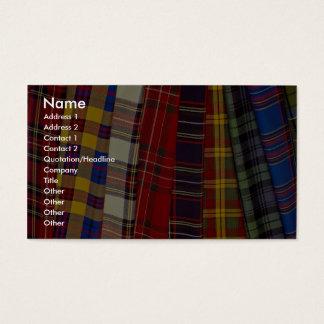 Selectie van geruite Schotse wollen stoffen Visitekaartjes