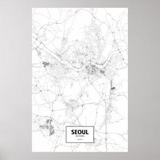 Seoel, Zwart Zuid-Korea (op wit) Poster