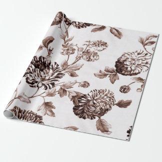 Sepia Bruine Witte Vintage Botanische BloemenToile Inpakpapier