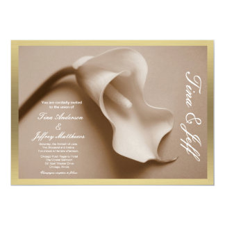 sepia calla de vergulde rand van het leliehuwelijk kaart