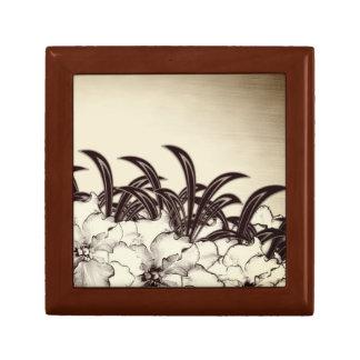 Sepia de Bruine Schets van de Tuin van de Orchidee Decoratiedoosje