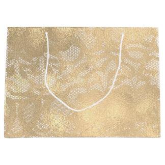 Sepia Faux Gouden Bloemen Bruids Glam van het kant Groot Cadeauzakje