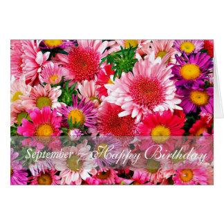 September die Roze Asters voor Verjaardag Kaart