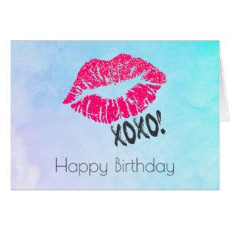 Sexy Roze Lippen Kissy met xoxo! Verjaardag Wenskaart