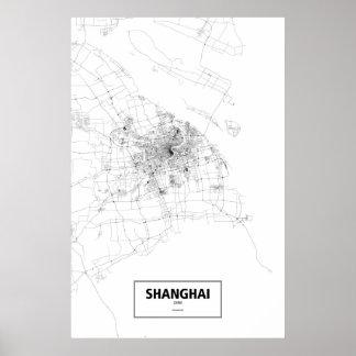 Shanghai, zwart China (op wit) Poster