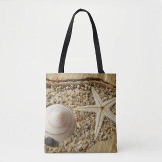 Shell van de zeester en van het Zee Canvas tas
