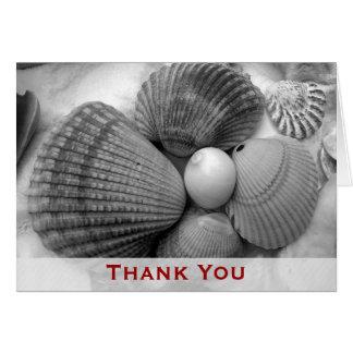 Shells van het strand danken u nota nemen van kaart
