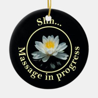Shh… Teken van de Deur van de massage het lopende Rond Keramisch Ornament