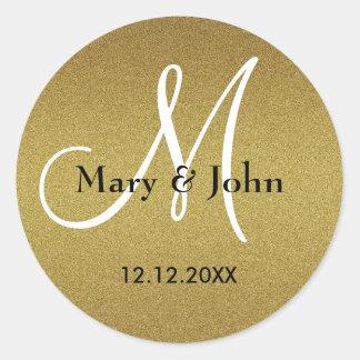 Shimmery Gouden Verbindingen van het Monogram van Ronde Sticker