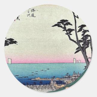 Shirasuka door Ando, Hiroshige Ukiyoe Ronde Sticker