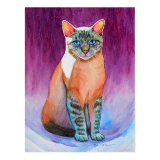Siamese Kat van het Punt van de lynx bij de Briefkaart