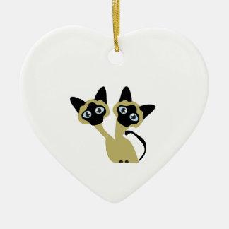 Siamese Katten Keramisch Hart Ornament