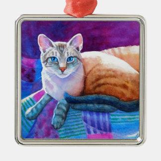 Siamese Katten van het Punt van de lynx Zilverkleurig Vierkant Ornament