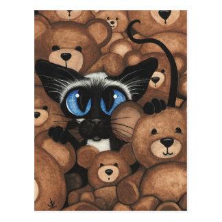Siamese Omhelzing van de Teddybeer van de Kat door Briefkaart