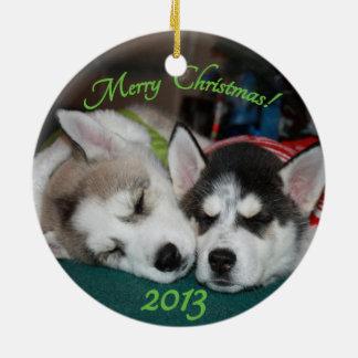 Siberisch schor puppyOrnament Rond Keramisch Ornament