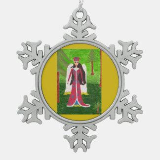 Siberische Engel Tin Sneeuwvlok Ornament
