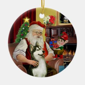 Siberische Schor #3 van de kerstman Rond Keramisch Ornament