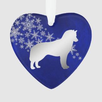 Siberische Schor van de blauwe Zilveren Sneeuwvlok Ornament