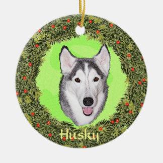 Siberische Schor voor Kerstmis Rond Keramisch Ornament